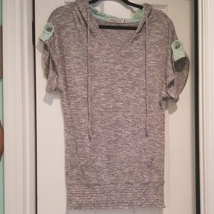 Grey and seafoam/mint hooded tunic, sz M